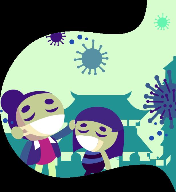 Ilustración de dos mujeres con coronavirus en China